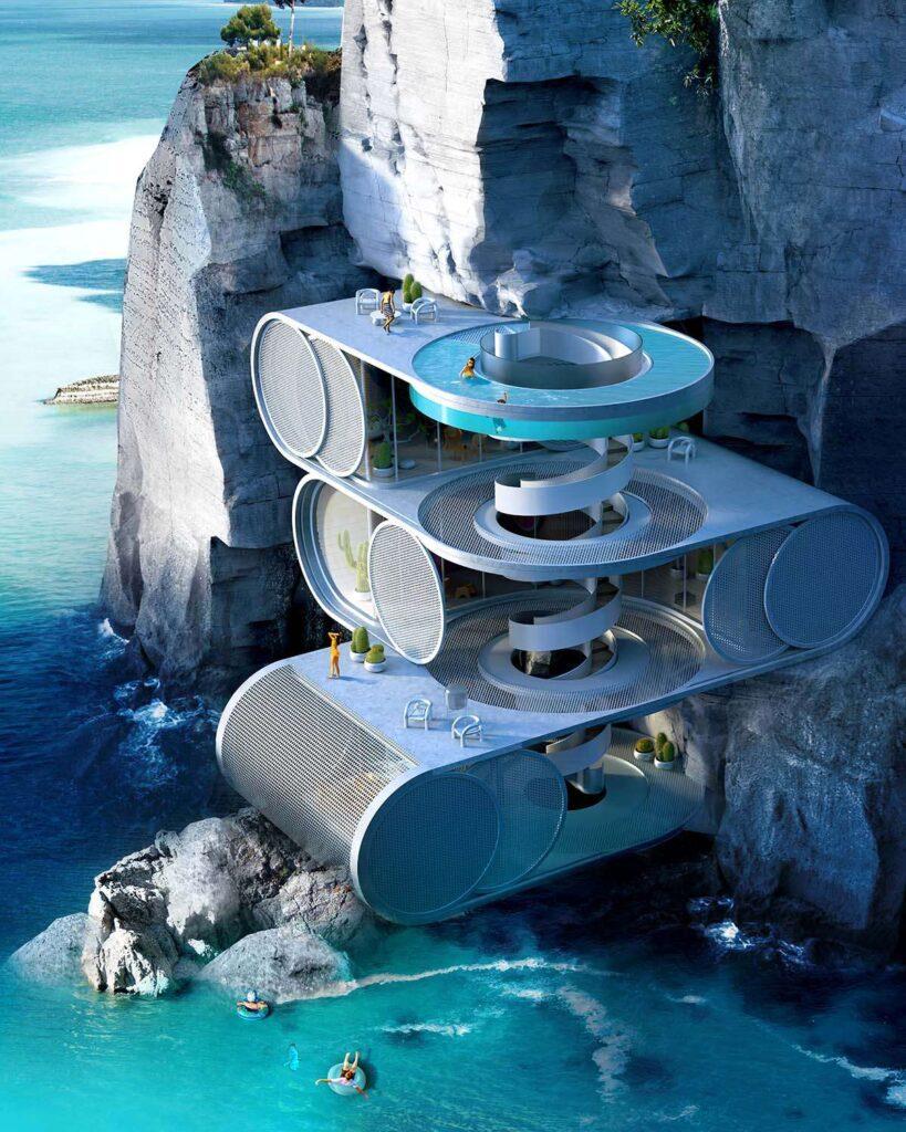 اقتراح تصميم منزل صيفي على جرف منحدر بهاواي